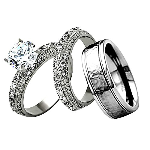 FlameReflection Stainless Steel His and Hers Wedding Ring Set CZ Hammered Titanium Men Band Women Sz-5 & Men Sz-9 ()