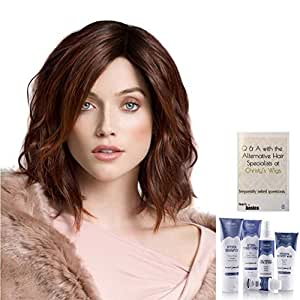 Bundle - 7 Items: Spirit Human Hair Wig By Ellen Wille, Christy's Wigs Q & A Booklet, Beautimark Hydra Shampoo Conditioner Mask Protect Leave In Spray Shine Serum - Color: Dark Chocolate Mix