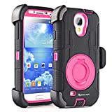 ShockProof S4 Case,Holster S4 Case,Shockproof Protective Case and belt clip for Samsung Galaxy S4 - Extremly Protective Dual layer Case with 360 Degrees Swivel Ring Kickstand and Rugged Face- in and Front Built in HD Screeen Protector(Black Pink)