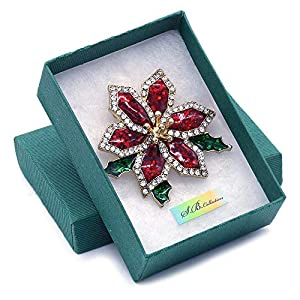 Soulbreezecollection Merry Christmas Jewelry Poinsettia Flower Tree Candy Cane Charm Brooch Pin