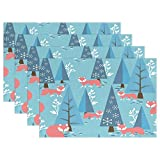 Woods Fox Merry Christmas Tree Snow Place Mat Table Mat for Kitchen Dining Room Heat Insulation Anti-skid Home Decor by MOCK ST Place Mat 12 x 18 inches Set of 4