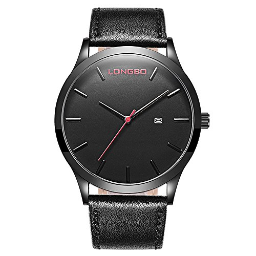 TYF Men Classic Watches Leather Strap Simple Dial Date Calendar Analogue Display Wrist Watch (Black) - Strap Date Display