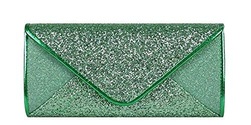 Wedding Cocktail Bridal Purse Clutch Evening Mesh Green Sequin Chicastic Envelope wEXHqtp6x