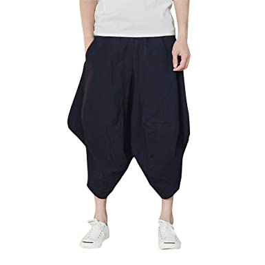 980bc8a9fd6 Zhhlaixing Summer Casual Drop Crotch Harem Pants Breathable Linen Shorts  Mens Teens Loose Plus Size Sport Bottoms  Amazon.co.uk  Clothing