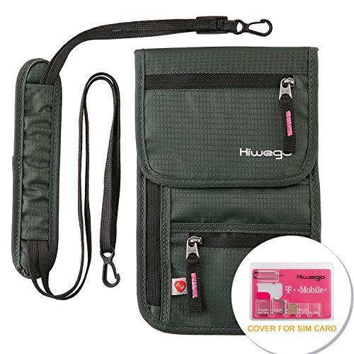 hiwego Travel Neck Pouch Hidden Passport Holder Wallet RFID Blocking/Neck Stash for Men Women (Dark Grey) (Id Other Than Passport And Driving License)
