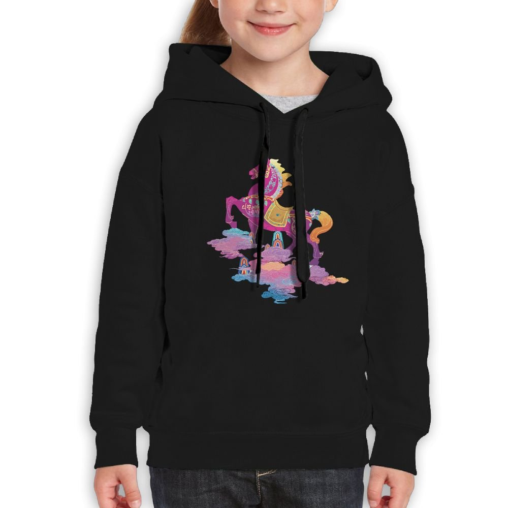 SmallHan Teen Girls Color Horse Riding Clouds Leisure Travel Black Fleeces S