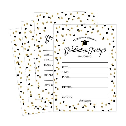 2018 Invitation - 25 Graduation Party Announcement Invitations For 2018 College, High School, University Grad Celebration Invite Cards, Black and Gold Fill In Invitations For Graduation Party Decorations and Supplies P