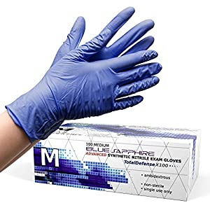 Powder Free Disposable Gloves Medium – 100 Pack – Synthetic Nitrile – Extra Strong, 4 Mil Thick – Latex Free, Food Safe…