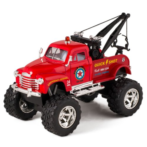 Diecast Monster Truck (Red 1953 Chevy Off-Road Wrecker Die Cast Tow Truck Toy with Monster Wheels)