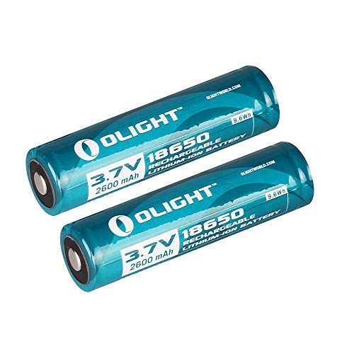 Olight 2600 mAh Protected Button Top Rechargeable 18650 Batteries M22 M20S M18 M20X LED Flashlights and more - 2 pack