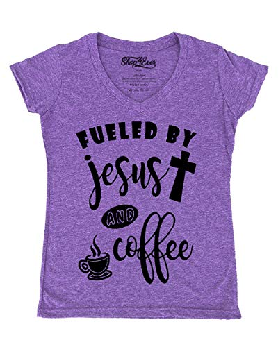Shop4Ever Fueled Jesus Coffee Women's V-Neck T-Shirt Small Heather Purple0 (Fueled By Jesus And Coffee T Shirt)