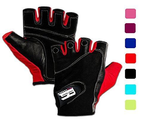 Cycling Gloves Premium (RIMSports Gym Gloves for Powerlifting, Weight Training, Biking, Cycling - Premium Quality Weights Lifting Gloves - Washable Gloves for Callus & Blister Protection Red S)