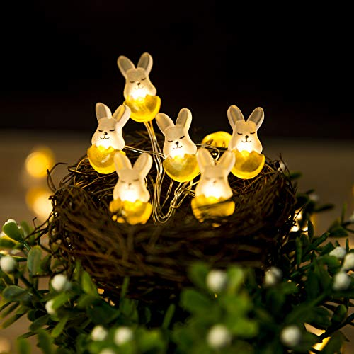 Easter Decoration Lights Rabbit Bunny Easter Lights String Battery-operated 10ft 30 LEDs Warm White Easter Lights Decorations for Easter Show, Patio, Fence, Deck, Balcony, Camping DIY Home Parties]()