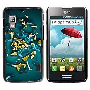 Be Good Phone Accessory // Dura Cáscara cubierta Protectora Caso Carcasa Funda de Protección para LG Optimus L5 II Dual E455 E460 // yellow gold abstract 3d polygon art