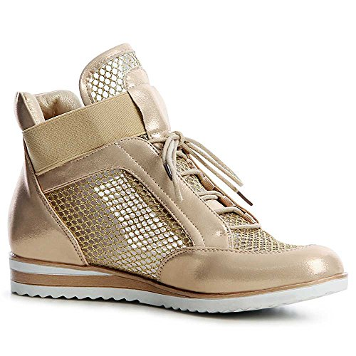 Topschuhe24 Chaussures Or Femmes De Coin Baskets Sport TRTq5nr