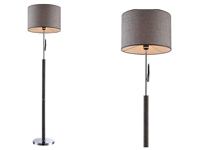 Lámpara de pie moderna para salón, color gris, pantalla de tela ...