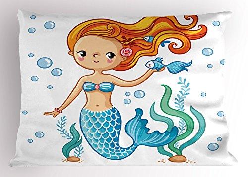 Lunarable Cute Pillow Sham, Swimming Cartoon Mermaid Fantastic Oceanic Underwater Life Magic Fairy Character, Decorative Standard Size Printed Pillowcase, 26 X 20 inches, Orange Blue Nude
