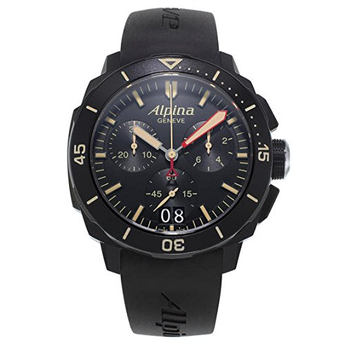 Alpina Men's 'SEASTRONG DIVER 300' Quartz Stainless Steel and Rubber Casual Watch, Color:Black (Model: AL-372LBBG4FBV6)