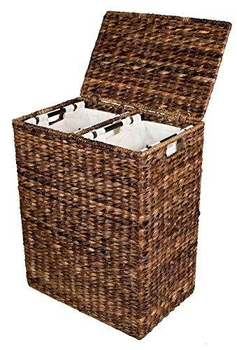 BirdRock Home Abaca Divided Laundry Hamper | Hand Woven | Machine Washable Cotton Canvas Liners by BirdRock Home