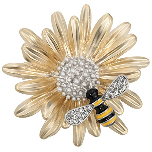 Szxc Jewelry Sun Flower Enamel Bee Insect Series Brooch Pin Accessories For Her Women (Yellow) ()