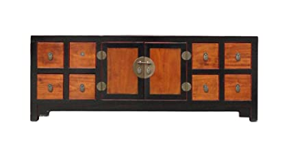 Amazon Com Chinese Black Brown Tone Low Tv Console Cabinet Acs1143