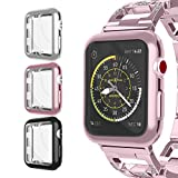 For Apple Watch Case 38mm, UMTELE Plated TPU Case Integrated Screen Protector Anti-scratches Slim Lightweight Protective Cover for Apple Watch Series 3/2/1, Nike+, 3-Pack(RoseGold, Black, Silver)
