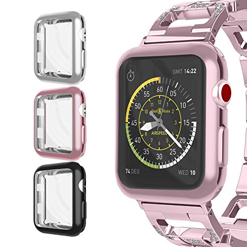 For Apple Watch Case 38mm, UMTELE Plated TPU Case Integrated Screen Protector Anti-scratches Slim Lightweight Protective Cover for Apple Watch Series 3/2/1, Nike+, 3-Pack(RoseGold, Black, Silver) by UMTELE