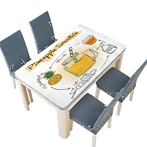PINAFORE Polyester Tablecloths Hand Drawn Sketch Illustration with Pineapple Smoothie Including Recipe and Ingredients for Indoor and Outdoor Use W25.5 x L65 INCH (Elastic Edge)