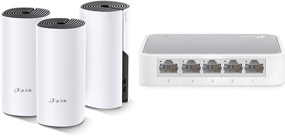 TP-Link Deco Whole Home Mesh WiFi System – Works with Alexa(Deco M4 3 Pack) & 5 Port Fast Ethernet Switch (TL-SF1005D)