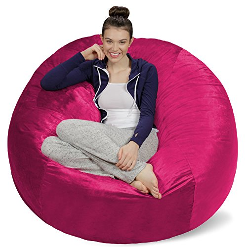 Sofa Sack - Plush Ultra Soft Bean Bags Chairs for Kids, Teens, Adults - Memory Foam Beanless Bag Chair with Microsuede Cover - Foam Filled Furniture for Dorm Room - Magenta 5' ()