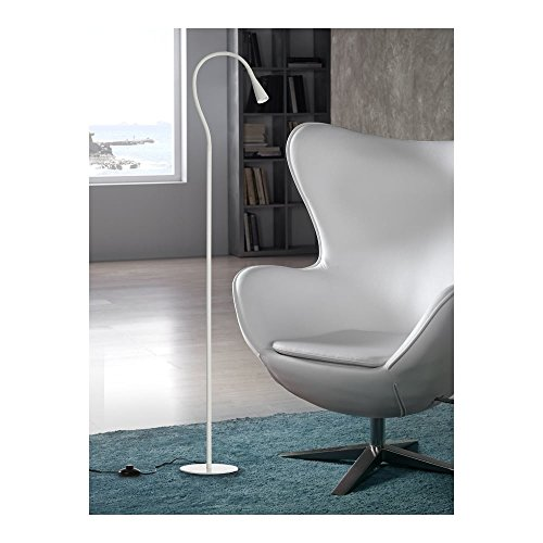 Schuller Spain 587216I4L Modern Glossy White Floor Lamp 1 Light Living Room, bed room, Study, Bedroom LED, Slim White Floor lamp | ideas4lighting by Schuller