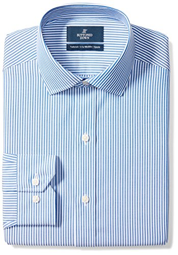 - BUTTONED DOWN Men's Tailored Fit Spread-Collar Pattern Non-Iron Dress Shirt, Blue Bengal Stripe, 16.5