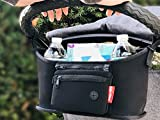 Esther Stroller Organizer Bag, Fits All Strollers, Deep Cup Holder, Large Storage Spaces Inside for Phone, Wallet, Diaper, and etc.