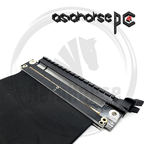 ASIAHORSE New PCI Express High Shielding Property PCIE 3.0 16x Flexible Cable Card Extension Port Adapter High Speed Riser Card (20cm-180 Degrees)