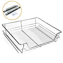 Kitchen Sliding Cabinet Organizer,Pull Out Chrome Wire Storage Basket Rack Drawer Single Shelf for Wardrobes Cupboards