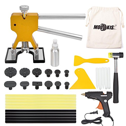 Mookis PDR Tools Paintless Dent Repair Puller Kits 34pcs with Dent Lifter Suction Cup Hot Glue Gun Sticks Pro Tabs -Tools Bag Included (Pdr Dent Removal)