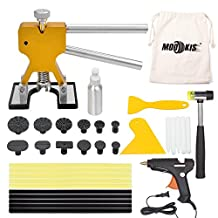 Paintless Dent Repair Puller Kits PDR Tools, Mookis 34pcs with Dent Lifter Suction Cup Hot Glue Gun Sticks Pro Tabs -Tools Bag Included