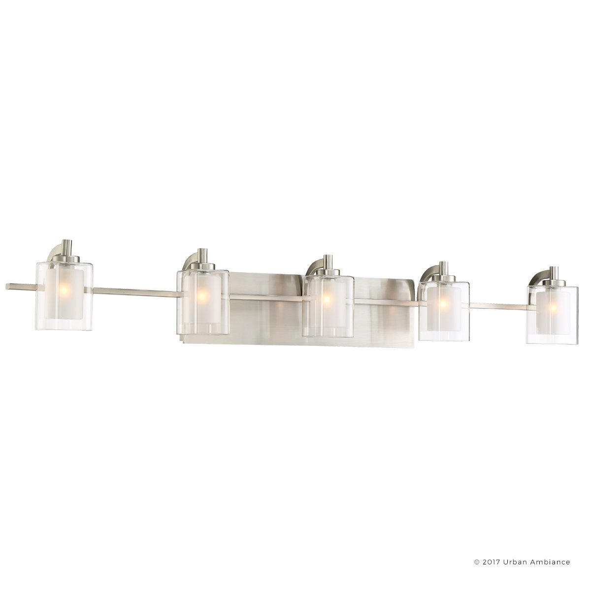 Luxury Modern Bathroom Vanity Light, Large Size: 6''H x 42''W, with Posh Style Elements, Brushed Nickel Finish and Sand Blasted Inner, Clear Outer Glass, G9 LED Technology, UQL2406 by Urban Ambiance