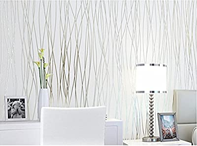 Blooming Wall:Non-woven Classic Plain Stripe Moonlight Forest Wallpaper,High Quality,20.8 In*32.8 Ft=57 Sq ft Per Roll