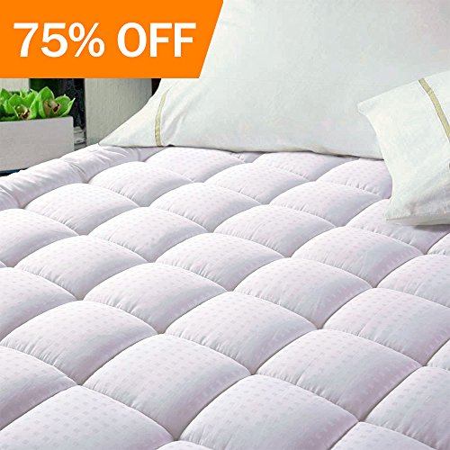 EASELAND Quilted Fitted Cooling Mattress Pad (King)-Mattress Cover Stretches up 8-21 Deep Pocket Down Alternative Filling Mattress Topper