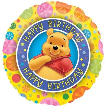 Winnie The Pooh Buon Compleanno Tondo Lamina Palloncino Sgonfio