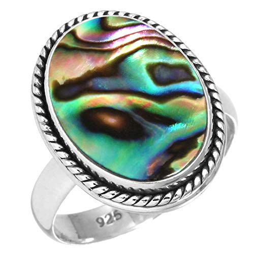 925 Sterling Silver Women Jewelry Natural Abalone Shell Ring Size 6
