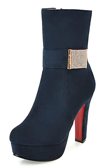 SHOWHOW Damen Nubuk Blockabsatz High Boots Schaftstiefel Stiefelette Rot 34 EU JXLQUPzrt9