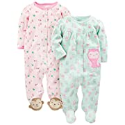 Simple Joys by Carter's Girls' 2-Pack Cotton Footed Sleep and Play, Owl/Monkey, Newborn