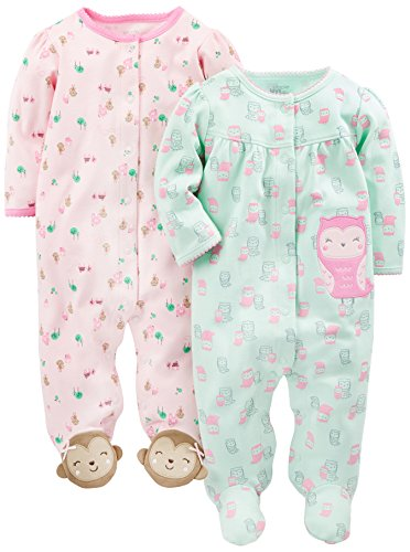 Simple Joys by Carter's Baby Girls' 2-Pack Cotton Footed Sleep and Play, Owl/Monkey, Preemie