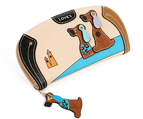 Women Wallet Cute 3d Puppy Clutch Bag Round Zipper Handbag (2110.52.5cm, (Round Dog Clutch)