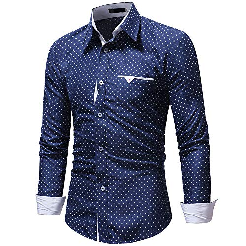 Men's Fahsion Slim Polka Dot Casual Autumn Casual Formal Fit Long Sleeve Shirt Top Blouse ()