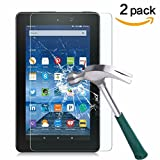 Fire 7 Screen Protector,TANTEK Anti Scratch,Bubble Free,Tempered Glass Screen Protector for Amazon Fire 7-inch Tablet(5th Generation),[2-Pack]