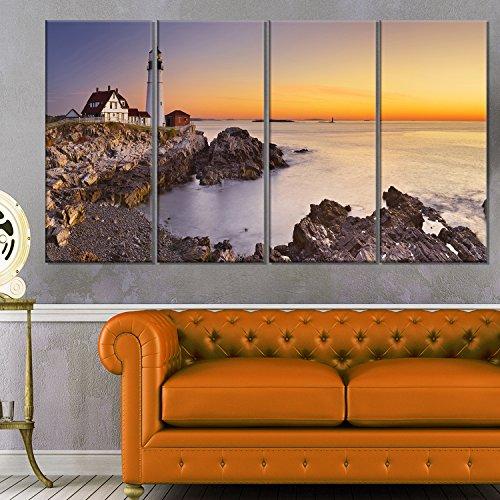 Seascape Lighthouse (Designart 4 Piece Portland Head Lighthouse Maine Modern Seascape Canvas Artwork, 48