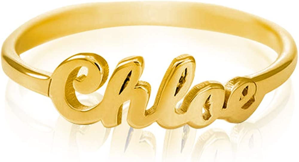 VENACOLY Personalized Name Ring Custom Tiny Initial Name Ring Promise Ring for Her